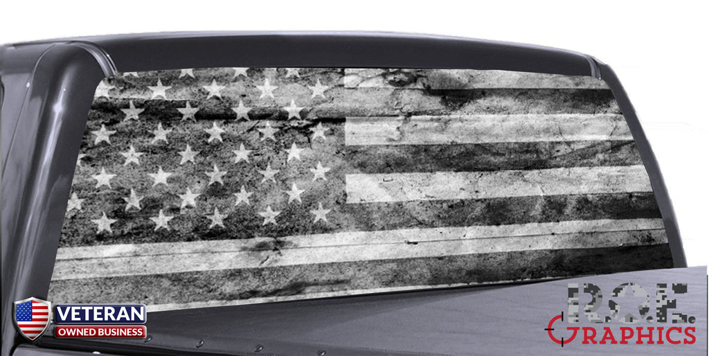 Build Your Own Camaro >> Distressed American Flag B/W Universal Truck Rear Window ...