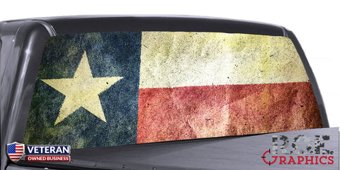 Texas State Flag Distressed Universal Truck Rear Window 50/50 Perforated Vinyl