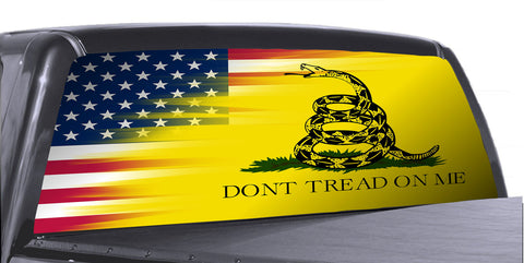 Don't Tread on Me 3 Universal Truck Rear Window 50/50 Perforated Vinyl Decal