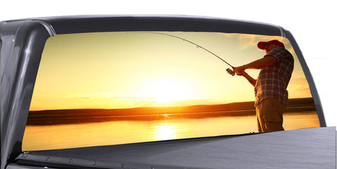 Gone Fishing Universal Truck Rear Window 50/50 Perforated Vinyl Decal