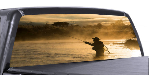 Gone Fishing 2 Universal Truck Rear Window 50/50 Perforated Vinyl Decal
