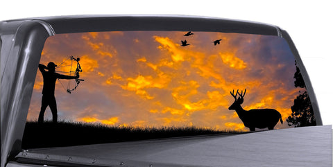 Hunting Scene Universal Truck Rear Window 50/50 Perforated Vinyl Decal