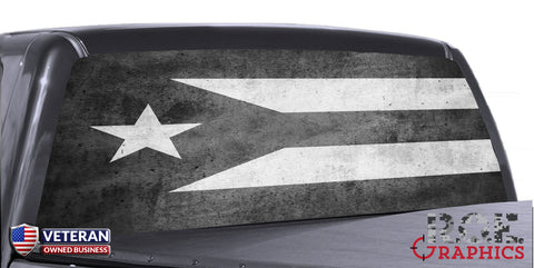 Puerto Rico Flag Black & White Universal Truck Rear Window 50/50 Perforated Vinyl Decal