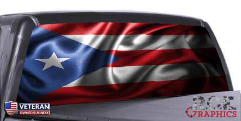 Puerto Rico Flag Waving Universal Truck Rear Window 50/50 Perforated Vinyl Decal