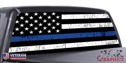 Distressed Thin Blue Line Universal Truck Rear Window 50/50 Perforated Vinyl