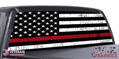 Distressed Thin Red Line Universal Truck Rear Window 50/50 Perforated Vinyl