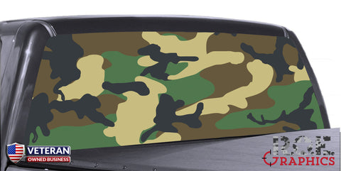 Woodland 2 camouflage Universal Truck Rear Window 50/50 Perforated Vinyl Decal