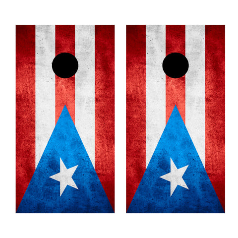 2 x Cornhole Board Bag Toss Vinyl Wrap Set-Puerto Rico Flag Universal Fit Oracal 3M