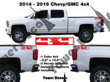 CHEVY 4x4 INVERTED TRUCK BED SIDE VINYL DECAL FOR CHEVROLET SILVERADO GMC SIERRA