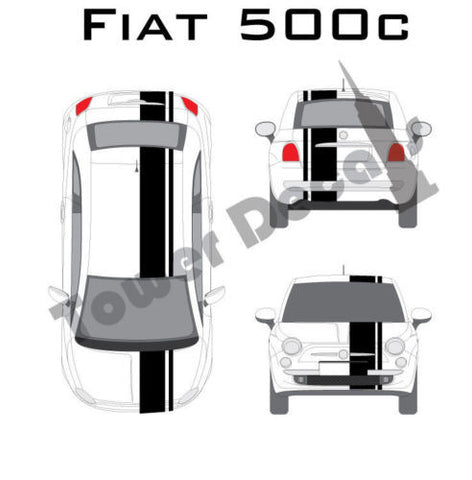 "3-9"" Single Rally Racing Pin Stripe Cast Vinyl Decal Fits All Fiat 500c, Abarth"