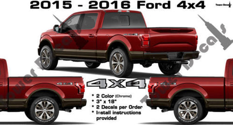 FORD 4x4 BED SIDE VINYL DECAL CHROME CARBON FIBER F150 F250 F350 F450 SUPERDUTY