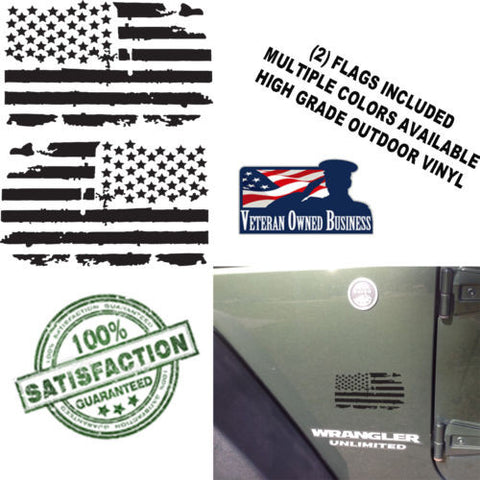 (2) 6 inch Distressed American Flags Vinyl Decals fits Jeep Trucks Universal