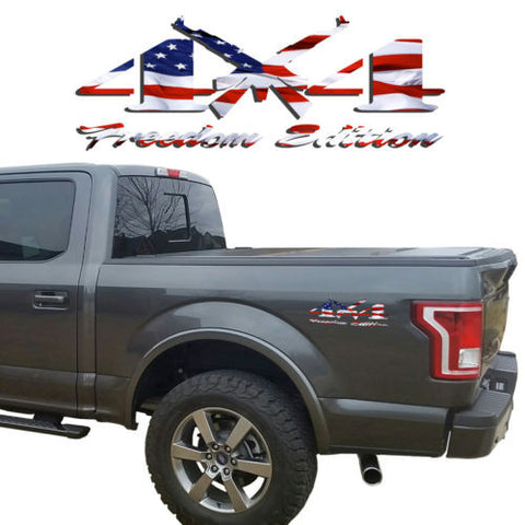 4X4 Freedom Edition AK47 Vinyl Decal fits: Jeep Nissan GMC Chevrolet Toyota