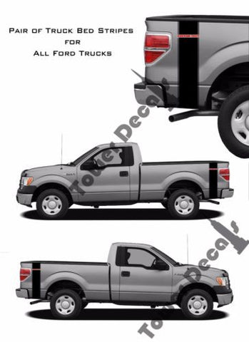 Custom Text 2 Color Truck Bed Side Stripes Vinyl Decals Fits Ford F150 F250 F350