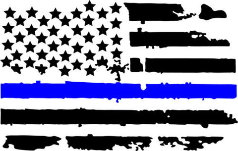 12 inch Thin Blue Line Distressed USA Flag Vinyl Decals