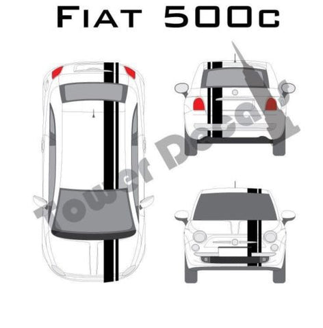 "Fiat Abarth 500 - 5"" Rally Racing Stripe with Pin Stripe - Cast Vinyl Decals"