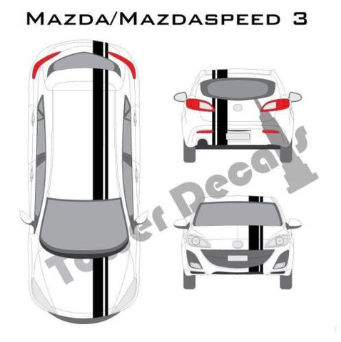 "3-5"" Single Rally Racing Pin Stripe Cast Vinyl Decal Fits Mazda 3 Mazdaspeed"