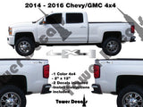 4x4 TRUCK BED SIDE DECAL FOR CHEVROLET SILVERADO GMC SIERRA HD