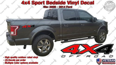 4x4 Sport Bedside 3 Color Vinyl Decals Stickers fits: Ford F150 Sport Edition