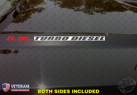 5.9L TURBO DIESEL Hood Vinyl Decals Fits: Dodge Ram 2500 3500 Cummins Diesel