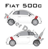 "Fiat Abarth 500 Dual Front 4"" Fender Hash Stripes - Both Sides - fits 2017-2015"