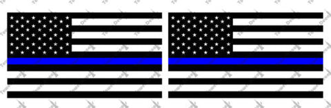 (2) 6 or 12 inch Standard USA Thin Blue Line Flags Vinyl Decal Fits: Jeep Trucks Universal