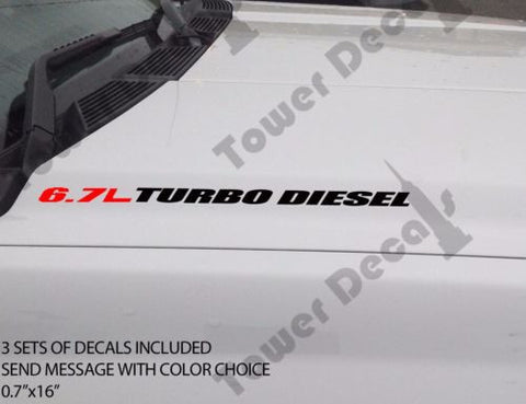 6.7L TURBO DIESEL Hood vinyl sticker decals fits: RAM DODGE CUMMINS 0083