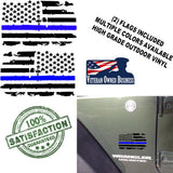 (2) 6 inch Thin Blue Line Distressed USA Flag Vinyl Decals