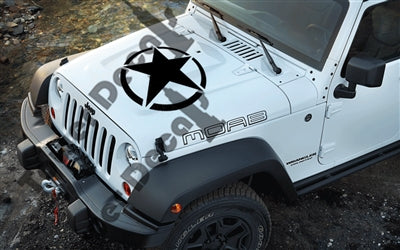 "16"" or 21"" Hood Army Star for Jeep Wrangler, Rubicon, Cherokee"