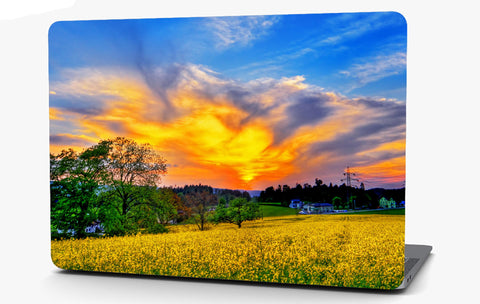 Sunset on the Farm Landscape Vinyl Laptop Computer Skin Sticker Decal Wrap Macbook Various Sizes