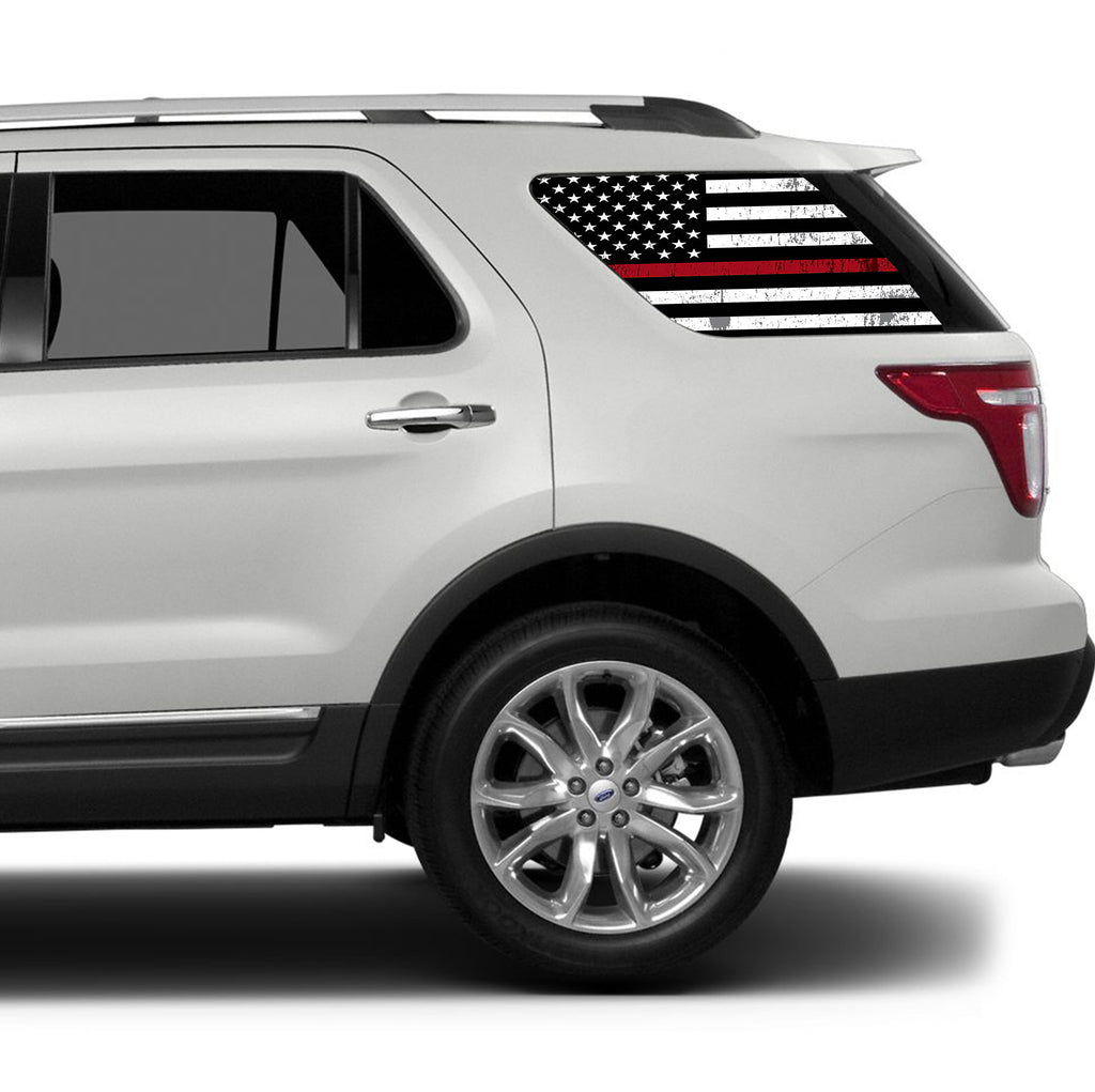 Red Window Tint >> Universal Thin Red Line American Flag Window Tint Perforated Vinyl Fits Any Suv
