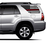 Universal Thin Red Line American Flag Window Tint Perforated Vinyl Fits: Any SUV