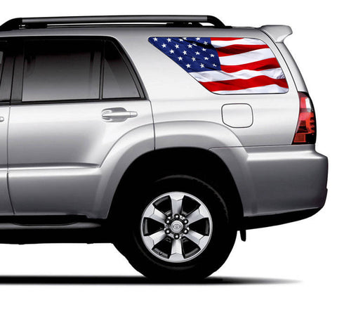 Universal American Flag Waving Window Tint Perforated Vinyl Fits: Any SUV