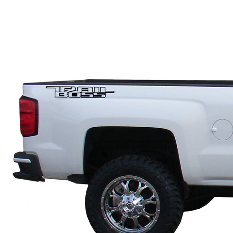 Trail Boss 1 color Vinyl Decal for Truck Bed Fits: GMC Chevrolet Silverado