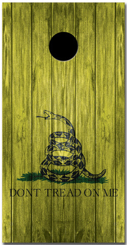 2x Gadsden Flag Don't Tread on Me Distressed Wood Cornhole Board Bag Toss Vinyl Wrap Set- Universal Fit Oracal 3M
