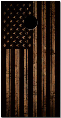 2x American Flag Distressed Wood Cornhole Board Bag Toss Vinyl Wrap Set- Universal Fit Oracal 3M