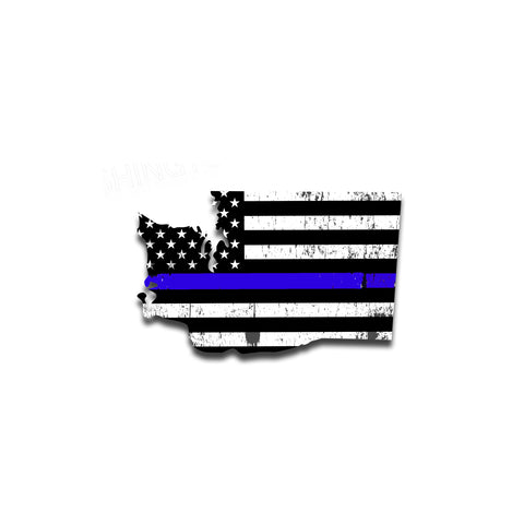 Washington Distressed Subdued US Flag Thin Blue Line/Thin Red Line/Thin Green Line Sticker. Support Police/Firefighters/Military