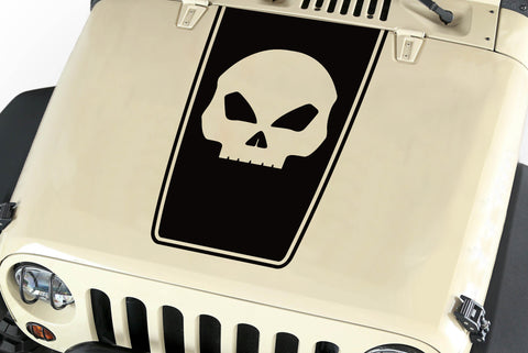 Hood Blackout Skull Vinyl Decal Sticker (21) fits: Jeep Wrangler JK TJ YJ