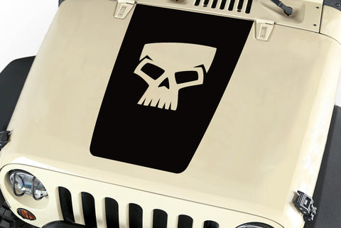 Hood Blackout Skull Vinyl Decal Sticker (17) fits: Jeep Wrangler JK TJ YJ