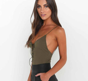 Veronica - Criss Cross Lace up Top