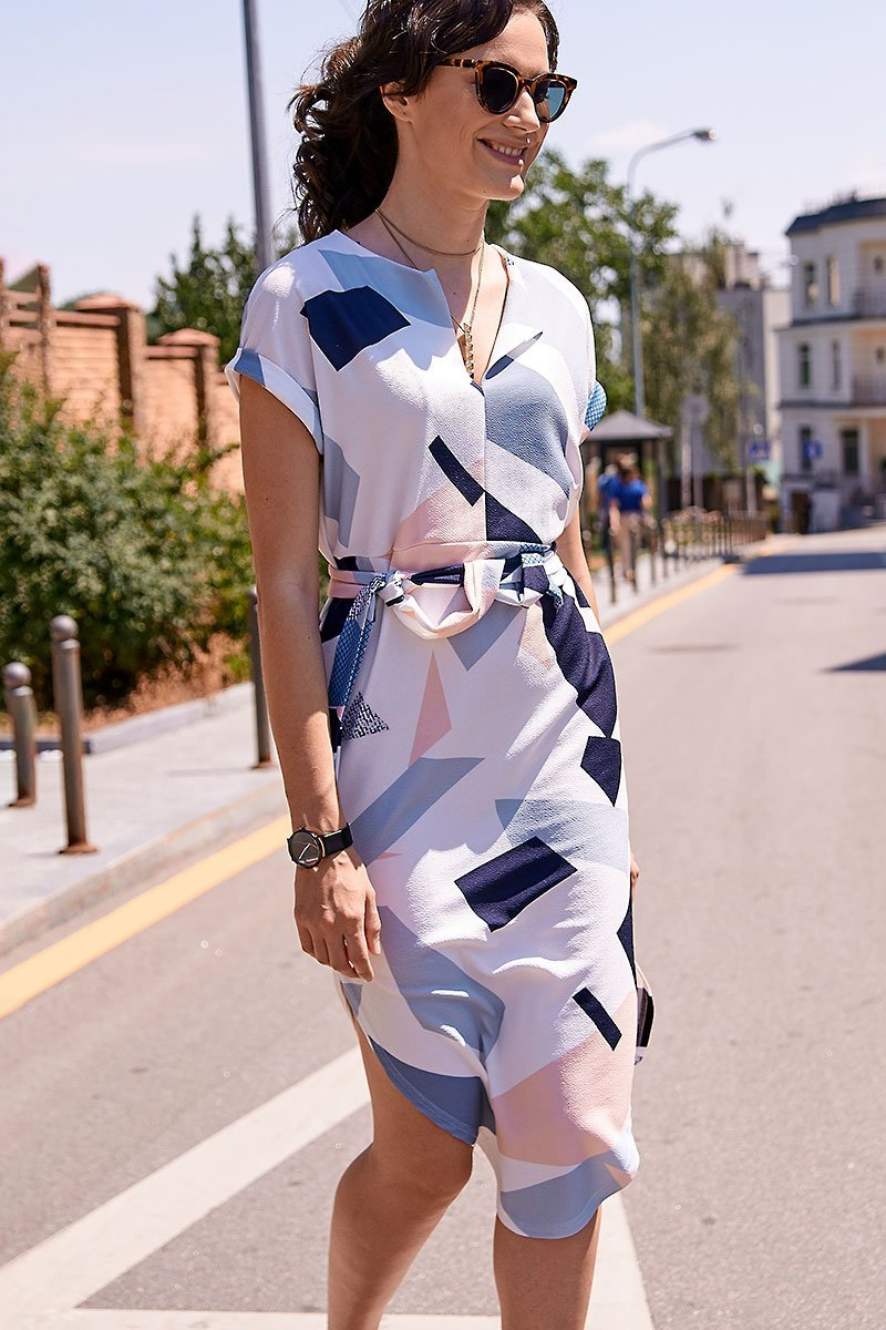 Laurae - Geometric Colour Block Dress