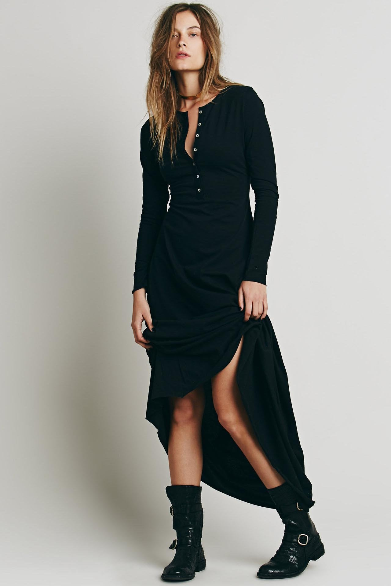 Megan - Boho Button Dress
