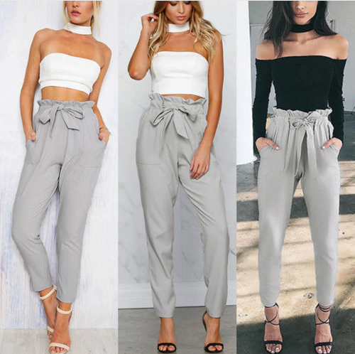 Cecile - High Waist Ribbon Tie Pants
