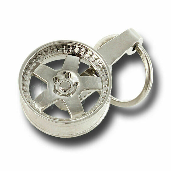 RACING CAR AUTO WHEEL RIM TIRE STANCE FLUSH STYLE KEY RING KEYCHAIN CHARM