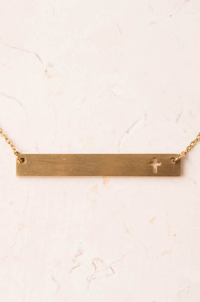 Layla-Gold Cross Bar Necklace