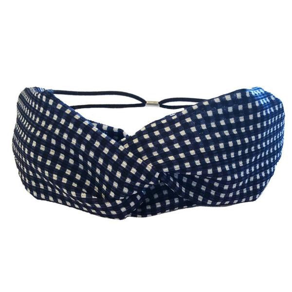 Navy Checkered Twist Turban