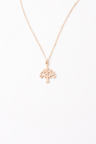 Tree Gold Pendant Necklace