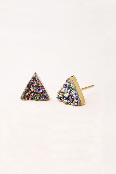 Kyra Multicolored Druzy Stud Earrings