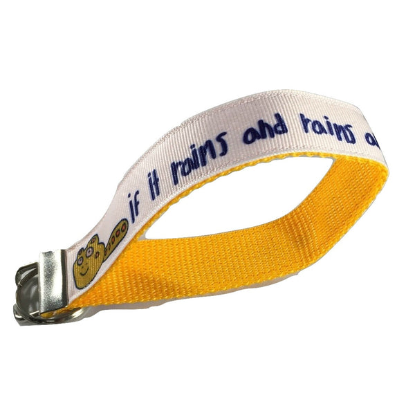 If It Rains Key Chain / Keyfob with blue or gold backing and a sturdy 12 inch wrist loop