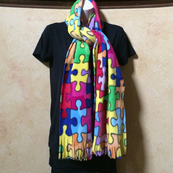 Autism Awareness Puzzle Piece Scarf - made by adults with special needs